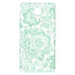 Mint Green And White Baroque Floral Pattern Galaxy Note 4 Back Case by Dushan