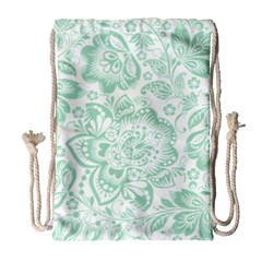 Mint Green And White Baroque Floral Pattern Drawstring Bag (large) by Dushan