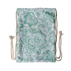 Mint Green And White Baroque Floral Pattern Drawstring Bag (small) by Dushan