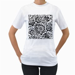 Black Floral Damasks Pattern Baroque Style Women s T Shirt (white) (two Sided)