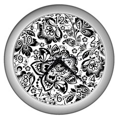 Black Floral Damasks Pattern Baroque Style Wall Clocks (silver)  by Dushan
