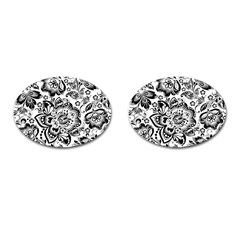Black Floral Damasks Pattern Baroque Style Cufflinks (oval) by Dushan