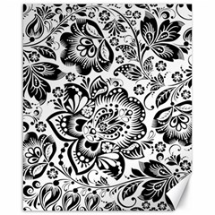 Black Floral Damasks Pattern Baroque Style Canvas 16  X 20   by Dushan