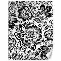 Black Floral Damasks Pattern Baroque Style Canvas 36  X 48   by Dushan