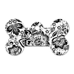 Black Floral Damasks Pattern Baroque Style Dog Tag Bone (two Sides) by Dushan