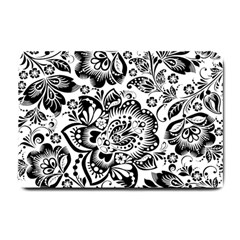 Black Floral Damasks Pattern Baroque Style Small Doormat  by Dushan