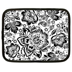 Black Floral Damasks Pattern Baroque Style Netbook Case (xl)  by Dushan