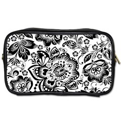 Black Floral Damasks Pattern Baroque Style Toiletries Bags by Dushan