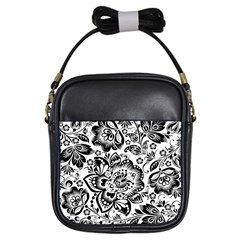Black Floral Damasks Pattern Baroque Style Girls Sling Bags by Dushan