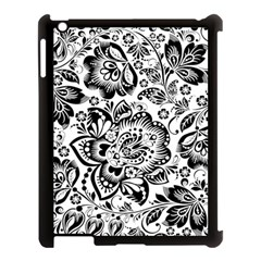 Black Floral Damasks Pattern Baroque Style Apple Ipad 3/4 Case (black) by Dushan