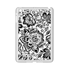 Black Floral Damasks Pattern Baroque Style Ipad Mini 2 Enamel Coated Cases by Dushan
