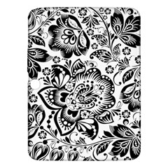 Black Floral Damasks Pattern Baroque Style Samsung Galaxy Tab 3 (10 1 ) P5200 Hardshell Case  by Dushan