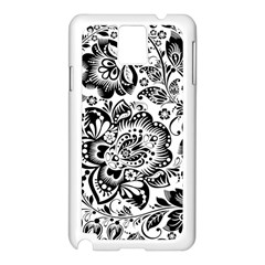 Black Floral Damasks Pattern Baroque Style Samsung Galaxy Note 3 N9005 Case (white) by Dushan