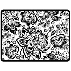 Black Floral Damasks Pattern Baroque Style Double Sided Fleece Blanket (large)  by Dushan