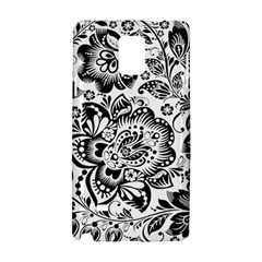 Black Floral Damasks Pattern Baroque Style Samsung Galaxy Note 4 Hardshell Case by Dushan