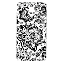 Black Floral Damasks Pattern Baroque Style Galaxy Note 4 Back Case by Dushan