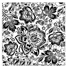 Black Floral Damasks Pattern Baroque Style Large Satin Scarf (square) by Dushan