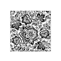Black Floral Damasks Pattern Baroque Style Satin Bandana Scarf by Dushan