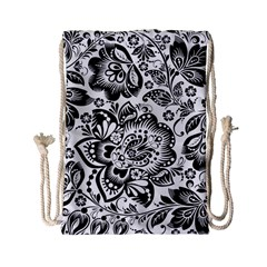 Black Floral Damasks Pattern Baroque Style Drawstring Bag (small) by Dushan
