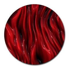 Shiny Silk Red Round Mousepads by MoreColorsinLife