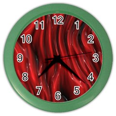 Shiny Silk Red Color Wall Clocks by MoreColorsinLife