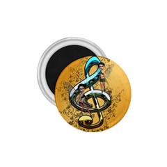 Music, Clef With Fairy And Floral Elements 1 75  Magnets by FantasyWorld7
