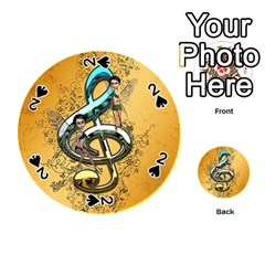 Music, Clef With Fairy And Floral Elements Playing Cards 54 (round)  by FantasyWorld7