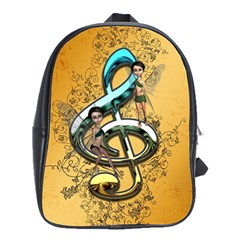 Music, Clef With Fairy And Floral Elements School Bags(Large)  by FantasyWorld7