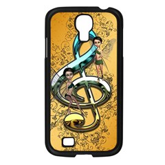 Music, Clef With Fairy And Floral Elements Samsung Galaxy S4 I9500/ I9505 Case (black) by FantasyWorld7