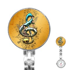 Music, Clef With Fairy And Floral Elements Stainless Steel Nurses Watches by FantasyWorld7