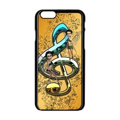 Music, Clef With Fairy And Floral Elements Apple Iphone 6/6s Black Enamel Case by FantasyWorld7