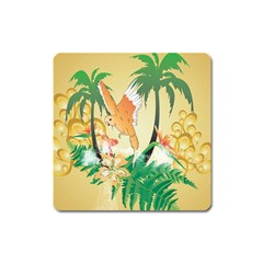 Funny Budgies With Palm And Flower Square Magnet by FantasyWorld7
