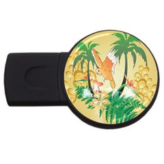 Funny Budgies With Palm And Flower Usb Flash Drive Round (2 Gb)  by FantasyWorld7