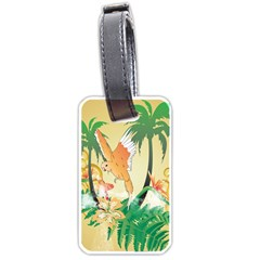 Funny Budgies With Palm And Flower Luggage Tags (two Sides) by FantasyWorld7