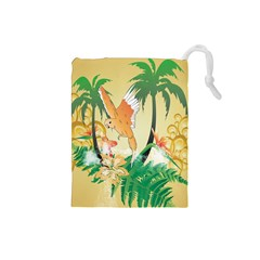Funny Budgies With Palm And Flower Drawstring Pouches (small)  by FantasyWorld7