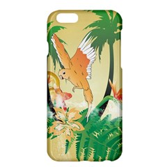 Funny Budgies With Palm And Flower Apple iPhone 6 Plus/6S Plus Hardshell Case by FantasyWorld7