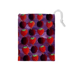 Strawberries And Plums  Drawstring Pouches (medium)  by julienicholls