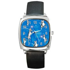 Funny, Cute Playing Cats With Stras Square Metal Watches by FantasyWorld7