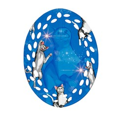 Funny, Cute Playing Cats With Stras Oval Filigree Ornament (2-Side)  by FantasyWorld7