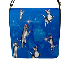 Funny, Cute Playing Cats With Stras Flap Messenger Bag (l)  by FantasyWorld7