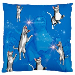 Funny, Cute Playing Cats With Stras Large Flano Cushion Cases (one Side)  by FantasyWorld7