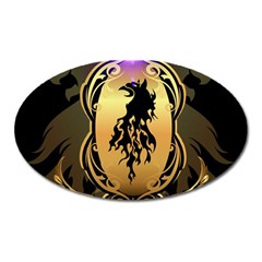 Lion Silhouette With Flame On Golden Shield Oval Magnet by FantasyWorld7