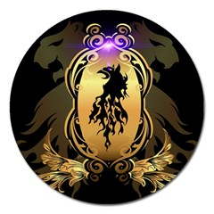 Lion Silhouette With Flame On Golden Shield Magnet 5  (round) by FantasyWorld7