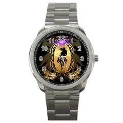 Lion Silhouette With Flame On Golden Shield Sport Metal Watches by FantasyWorld7