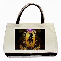 Lion Silhouette With Flame On Golden Shield Basic Tote Bag  by FantasyWorld7