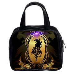 Lion Silhouette With Flame On Golden Shield Classic Handbags (2 Sides) by FantasyWorld7