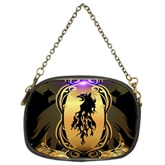 Lion Silhouette With Flame On Golden Shield Chain Purses (one Side)
