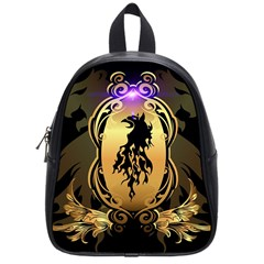 Lion Silhouette With Flame On Golden Shield School Bags (small)  by FantasyWorld7