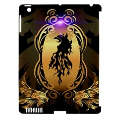 Lion Silhouette With Flame On Golden Shield Apple Ipad 3/4 Hardshell Case (compatible With Smart Cover) by FantasyWorld7