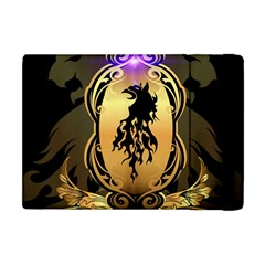 Lion Silhouette With Flame On Golden Shield Apple Ipad Mini Flip Case by FantasyWorld7